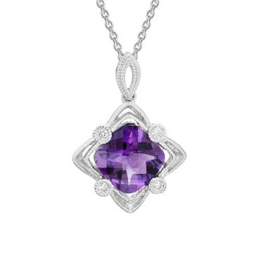 Amethyst and Diamond Pendant P1021