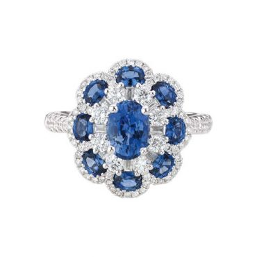 Diamond and Sapphire Ring R1009