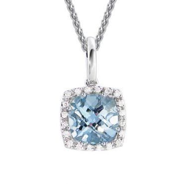 Diamond and Aquamarine Pendant P1045