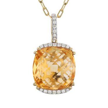 Diamond and Citrine Pendant P1050