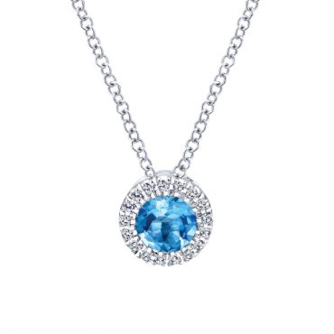 Diamond and Blue Topaz Necklace P1024
