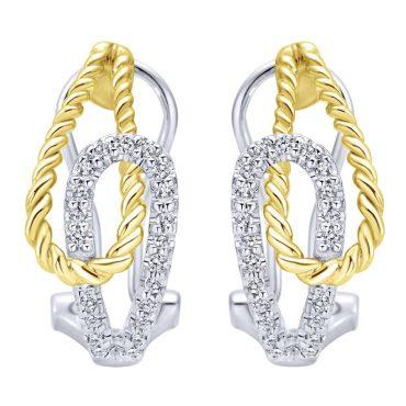 Diamond and Gold Braid Hoop Earrings ER1021