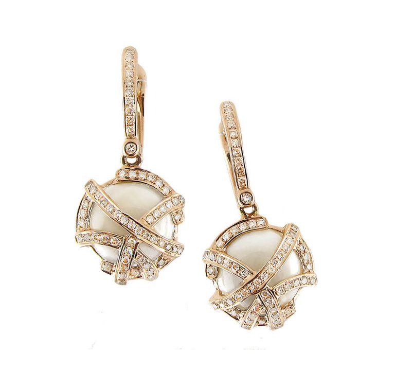 Diamond, Mother-of-Pearl and Gold Earrings ER1051