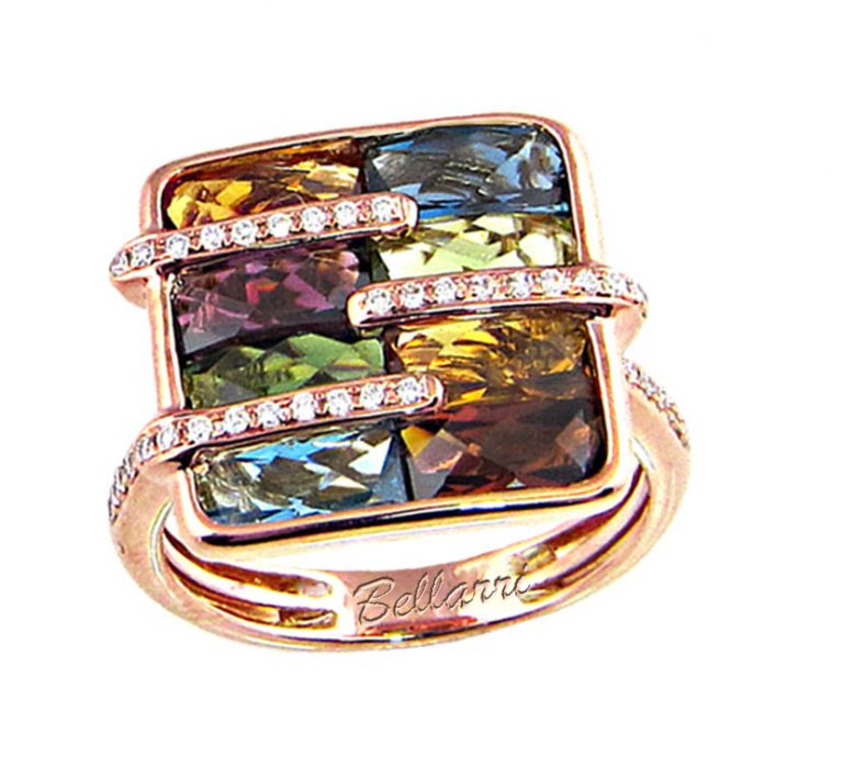 Diamond and Multi-Gemstone Ring R1124