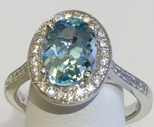 Diamond, Aquamarine and Gold Ring R1127