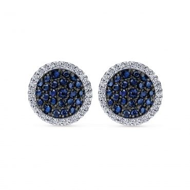 Blue Sapphire, White Sapphire and Sterling Silver Stud Earrings SS1018