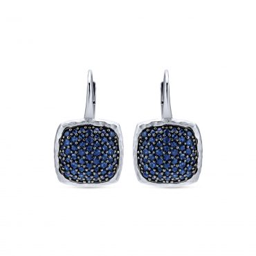 Blue Sapphire and Sterling Silver Drop Earrings SS1027