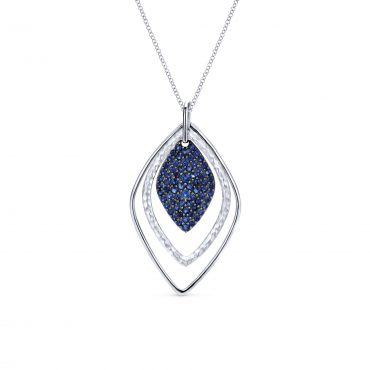 Blue Sapphires and Sterling Silver Pendant SS1074