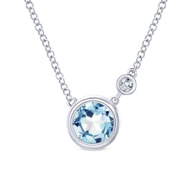 Aquamarine, Diamond and Sterling Silver Pendant SS1081