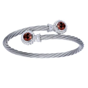 Garnet and Sterling Silver Bracelet SS1085
