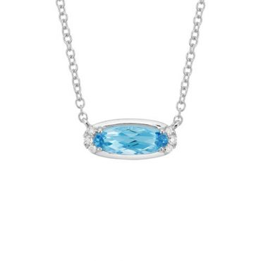 Blue Topaz and Diamond Pendant P1006