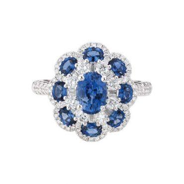 Diamond and Sapphire Ring R1009
