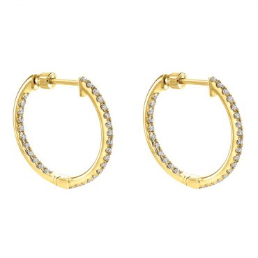 Diamond and Gold Hoop Earrings ER1022