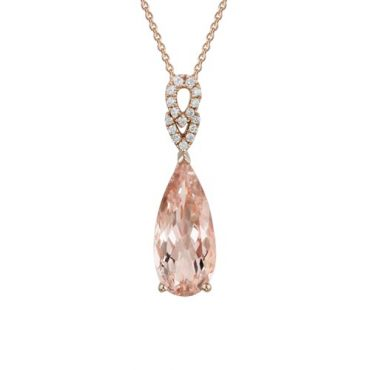 Diamond and Morganite Pendant P1052