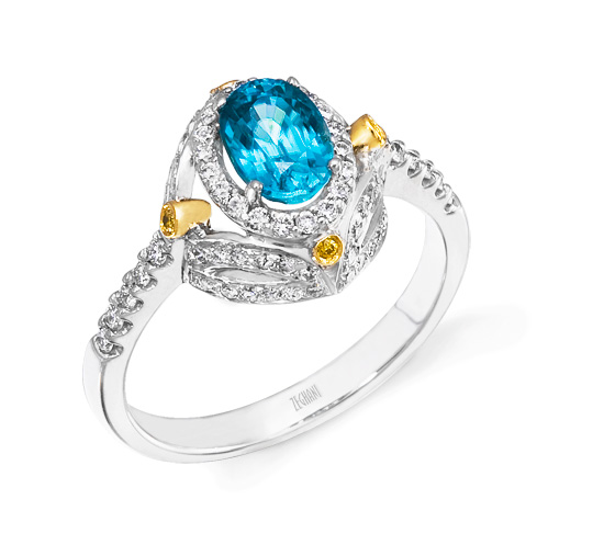 Gold, Diamond and Blue Topaz Ring R1029
