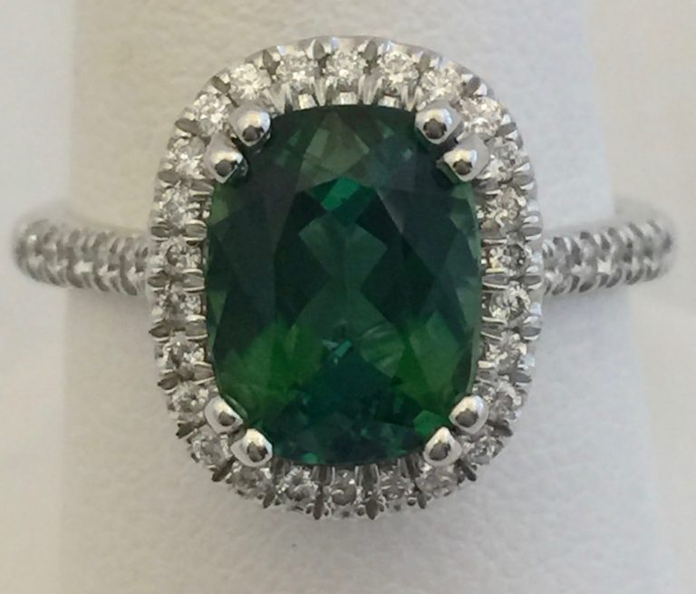 Gold, Diamond and Green Tourmaline Ring R1042