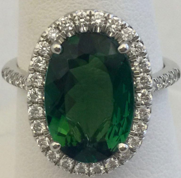 Gold, Diamond and Green Tourmaline Ring R1043