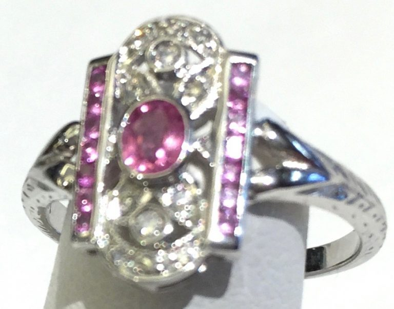 Gold, Diamond and Pink Sapphire Ring R1055