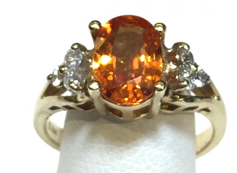 Diamond, Spessartine and Gold Ring R1082