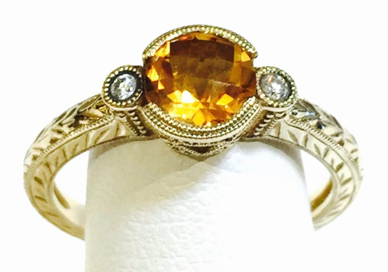 Diamond, Citrine and Gold Ring R1080