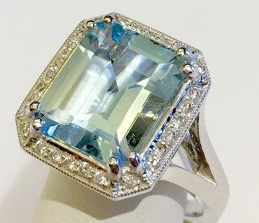 Diamond, Aquamarine and Gold Ring R1126