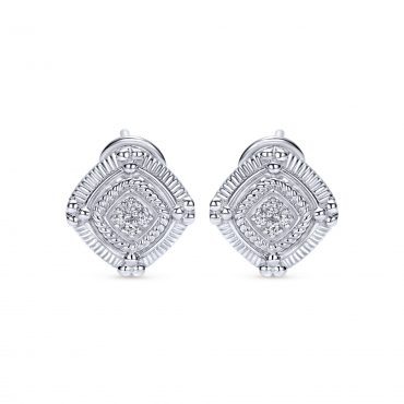 Diamond and Sterling Silver Stud Earrings SS1007