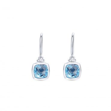 Blue Topaz and Sterling Silver Drop Earrings SS1011