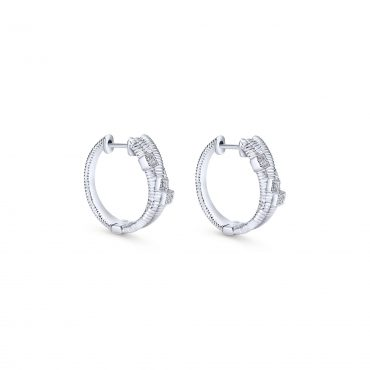 Diamond and Sterling Silver Hoop Earrings SS1015
