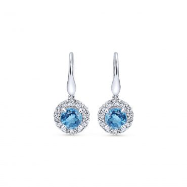Blue Topaz, White Topaz and Sterling Silver Drop Earrings SS1016
