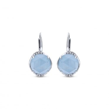 Diamond, Blue Gemstone and Sterling Silver Earrings SS1019