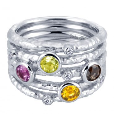 Diamond and Multi-Gemstone Sterling Silver Ring SS1029