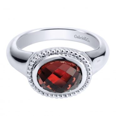 Garnet and Sterling Silver Ring SS1032