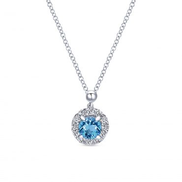 Blue Topaz, White Sapphire and Sterling Silver Pendant SS1068