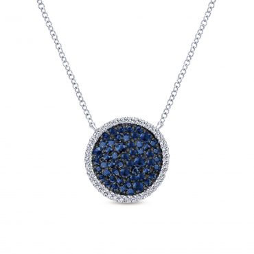 Blue Sapphire and Sterling Silver Pendant SS1072
