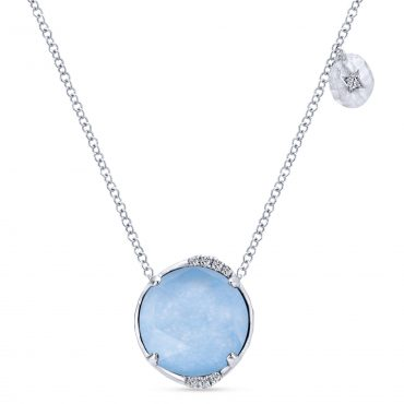 Diamond, Mother-of-Pearl and Rock Crystal, Sterling Silver Pendant SS1073