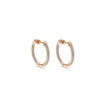 Rose Gold and Diamond Hoop Earrings ER1073