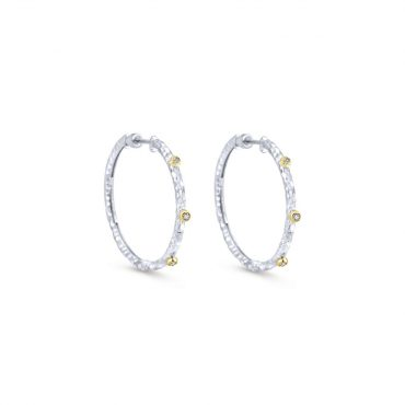 Sterling Silver, 18K Yellow Gold and Diamond Hoop Earrings SS1088