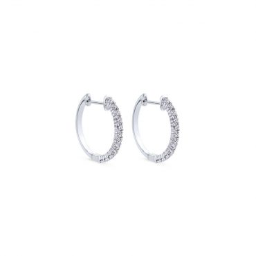 White Gold and Diamond Hoop Earrings ER1076
