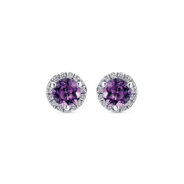 White Gold, Diamond and Amethyst Earrings ER1077