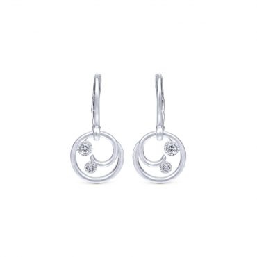Sterling Silver and Diamond Drop Earrings SS1091