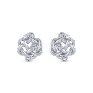 Sterling Silver and Diamond Stud Earrings SS1092